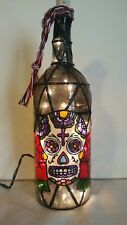 Sugar Skull Bottle Lamp Handpainted Lighted Stained Glass Look