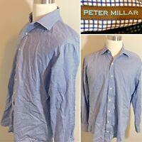 PETER MILLAR Blue Brown White Check Cotton Mens Shirt LS Button Down Mens Size L