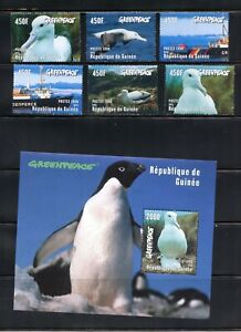 C435  Guinea 1998  birds ships Greenpeace   set & sheet     MNH