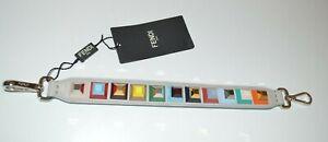 FENDI Gray Mini Strap U Handbag Strap Multicolor Pyramid Silver Hardware New