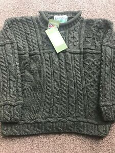 100% British Wool Aran Curl Neck Jumper Chunky Cable Knit Green Rust Charcoal