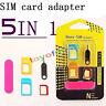 5 En 1 Nano A Micro Y Standard Sim Card Adaptador Para Varios Teléfonos Móviles