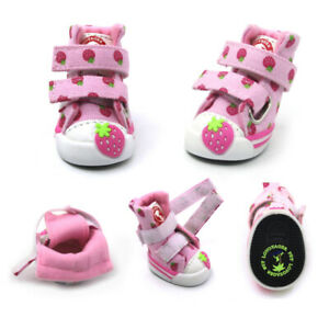 4pcs Cute Strawberry Small Dogs Shoes Chihuahua Dog Boots Teddy Puppy Sneaker