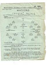 Watford v Crystal Palace Reserves Programme 25.8.1959