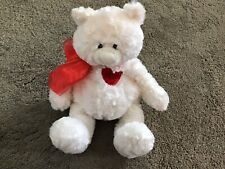 """11"""" White Bear With Red Heart  Which Says I Love You"""