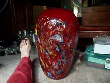 "HUGE 14"" x 9"" VASE Murano Art Glass BLOOD RED Millefiori gold fleck aventurine"