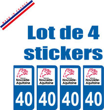 4 STICKERS PLAQUE AUTO IMMATRICULATION DEPARTEMENT 40 logo AQUITAINE Lion Rouge