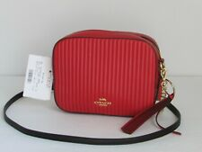 NEW Coach Camera Quilted Red Leather Crossbody Shoulder Handbag Purse 31014