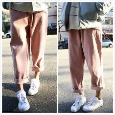 vintage donna velluto a coste pantaloni larghi GAMBA LARGA Casual BF OVERSIZE