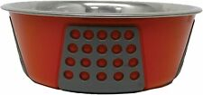 SPOT Tribeca Dog Bowl Red With Grey Non-Skid Rubber 15-Ounce Water And Food Bowl