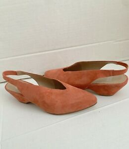 Eileen Fisher Gatwick Spice Suede Leather Slingback Pump Heel Sandals 10