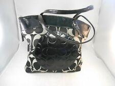 Coach F18335 Laura Black & Gray Jacquard Large Tote Hand bag Purse