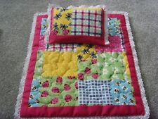 Handmade Dolls Bedding Pram Blanket Quilt & Pillow Set