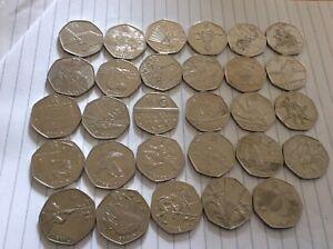 Full Set of 29 Olympic 50p coins, Circulated,football,Triathlon,Wrestling,Judo