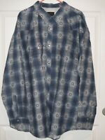 High Noon Mens Size 3XL Long Sleeve Pearl Snap Flannel Western Shirt Navy New