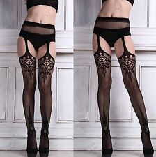 Ladies Sexy Patterned Fishnet Suspender Tights Open Crutchless Women Underwear