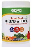 OZiva Superfood Greens & Herbs Supergreens powder with 34 Detox Ingredients 250g