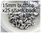 15mm self cover metal BUTTONS SHANK backs (sz 24) 25 QTY + FREE instructions
