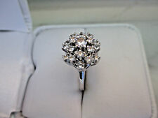 Antique Style Solid 14K White Gold White Topaz Engagement Ring
