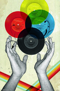 CMYK Retro Records by Elo Marc Colors Music Art Print Poster 22x34 inch