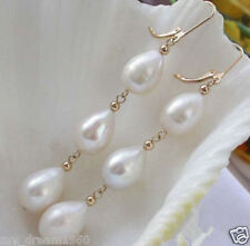 Handmade 6-7MM White Cultured Freshwater Pearl Dangle Earrings-Leverback