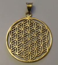 Flower of Life Sacred Geometry Brass Pendant 38mm Diameter