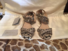 Jimmy Choo Chiara Leather Strappy Natural Snake Sandal Low Wedge Euro 40.5 US 10