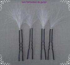 """4 pics à cheveux plumes """"COULEUR AU CHOIX"""", mariage/soirée"""