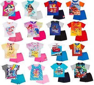 Kids Character Short Pyjamas Boys Girls Summer Shortie Pjs Set T-Shirt + Shorts