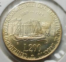 1989   Repubblica Italiana   200  lire  FONDO SPECCHIO  da divisionale