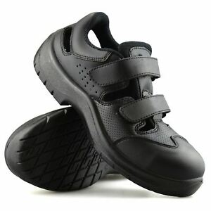 Mens Womens Leather Safety Steel Toe Cap Work Sandals Clogs Trainers Shoes Size