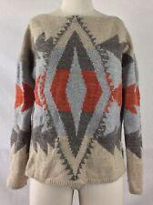 LAUREN RALPH LAUREN Women's Beige Southwest Aztec Lambswool Sweater MEDIUM