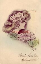 1909 Cobb Shinn Beautiful woman illustration - Best Wishes Shawano?