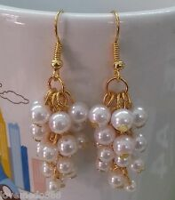 Pearlize Beads Dangle hook earrings #1426 New ladies fashion trend 3.5 Cm White