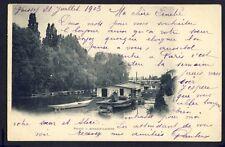 Carte Postale Ancienne Ecrite en 1903 POISSY (Yvelines) BATEAUX LAVOIRS Seine