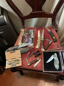 large lot of knives