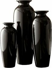 Modern Industrial Style Set of 3 Black Ceramic Vases