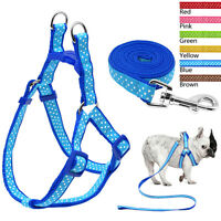 Polka Dot Nylon Dog Harness and Lead Leash Set No Pull for Medium Dogs 6 Colors