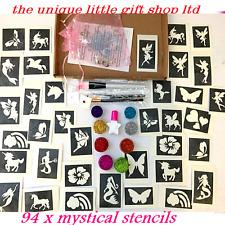 Kit de tatuaje purpurina místico Unicornio 94 grandes Stencils 8 Brillos pegamento pinceles