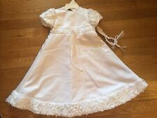 Baby Girl Christening Dress Floral Baptism Dress with head band Made in USA NEW