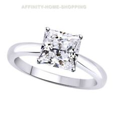 2.15 ct Square Princess Cut Solitaire Wedding Ring Solid 14k White Gold