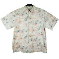Reyn Spooner Hawaiian Traditionals Orange Sailboat Shirt Mens Size XL