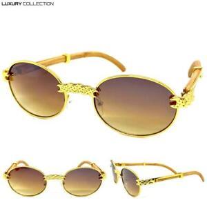 Men Classy Elegant Luxury Sophisticated SUN GLASSES Oval Gold Wood Fashion Frame