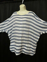 Masai 100% Cotton Tunic Blouse Dolman Sleeves Boxy Denim Blue & White Stripes XL