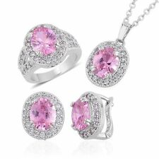 """PINK SIMULATED PINK DIAMOND RING 5.25 NECKLACE SET 18"""" CHAIN PIERCED EARS ROYAL"""