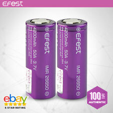 2 x EFEST IMR 26650 HIGH DRAIN 50A AMP Li-MN Battery 4200mAh Purple Authentic
