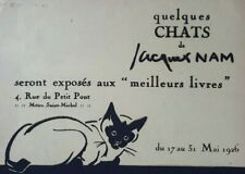 Engraving Poster Original Jacques Nam Animals Cat White Art Deco 1926 Xx