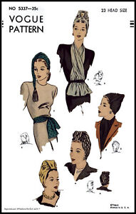 Draped TURBAN Hat SCARF VINTAGE 1940's Vogue 5337 Fabric Sewing Pattern