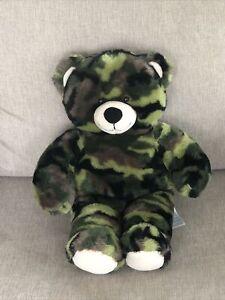 """Build a Bear Green Camo Camouflage Plush 16"""" Stuffed Bear Animal BABW"""