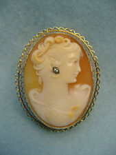 Vintage Carved shell Cameo 14KT. Yellow gold Pin